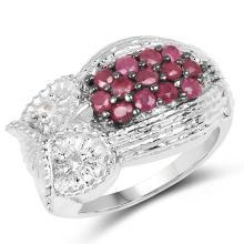 1.01 Carat Genuine Ruby & White Topaz .925 Sterling Silver Ring