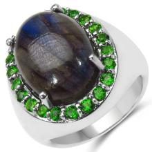 11.90 Carat Genuine Labradorite & Chrome Diopside .925 Sterling Silver Ring