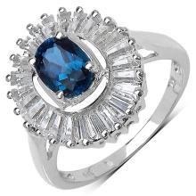 2.44 Carat Genuine Blue Topaz & White Topaz .925 Sterling Silver Ring
