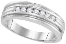 10kt White Gold Mens Round Diamond Ridged Edges Wedding Anniversary Band Ring 1/4 Cttw