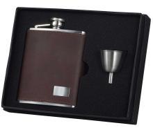 Visol Hunter Dark Brown Leather 6oz Flask Gift Set