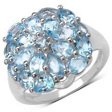 3.66 Carat Genuine Blue Topaz .925 Sterling Silver Ring
