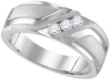 10k White Gold Mens Natural Round Diamond Wedding Anniversary Band Ring 1/4 Cttw