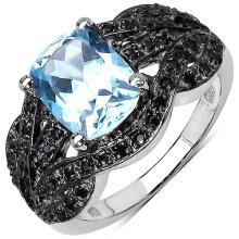 2.57 Carat Genuine Blue Topaz & Black Spinel .925 Sterling Silver Ring