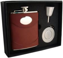 Visol Armstrong 6oz Brown Leather Stellar Flask Gift Se