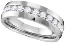 10k White Gold Mens Natural Round Diamond Wedding Anniversary Band Ring 1.00 Cttw