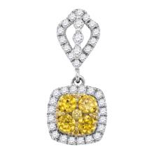 14kt White Gold Womens Round Yellow Natural Diamond Square Cluster Fashion Pendant 7/8 Cttw