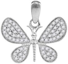 10kt White Gold Womens Round Natural Diamond Butterfly Bug Wings Fashion Pendant 1/3 Cttw