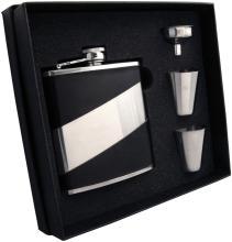 Visol Descent Deux Black Leatherette 6oz Flask Gift Set