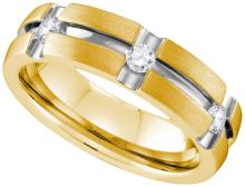 10k White Gold Mens Natural Round Diamond 2-tone Matte-finish Wedding Anniversary Band Ring 1/4 Cttw
