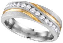 10k White Gold Mens Natural Round Diamond 2-tone Wedding Anniversary Band Ring 1/4 Cttw