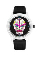 BLACK BAND/WHITE DAY OF THE DEAD WATCH