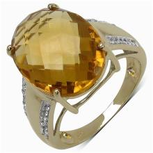 8.62 Carat Genuine Citrine 14K Yellow Gold Plated .925 Sterling Silver Ring