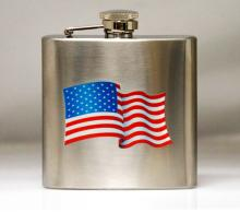 Visol American Flag Stainless Steel 6oz Hip Flask