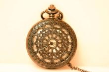 INTRICATE DESIGN BLACK POCKET WATCH