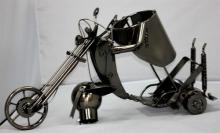 COLLECTORS EDITION METAL MOTORCYCLE WINE BOTTLE HOLDER