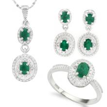 1 1/2 CARAT ( 7 PCS ) GENUINE EMERALDS 925 STERLING SILVER