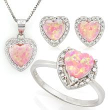 2 2/5 CARAT CREATED PINK FIRE OPAL & DIAMONDS 925 STERLING SILVER SET