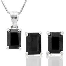 3 3/5 CARAT GENUINE BLACK SAPPHIRE 925 STERLING SILVER