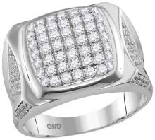 10kt White Gold Mens Round Diamond Square Cluster Ring 2.00 Cttw