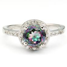 1.60 CT MYSTIC GEMSTONE & 20 PCS CREATED WHITE SAPPHIRE PLATINUM OVER 0.925 STERLING SILVER RING