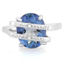 3 4/5 CARAT VIOLET MYSTIC GEMSTONE & DIAMOND 925 STERLING SILVER RING