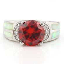 3 3/4 CARAT CREATED ORANGE SAPPHIRE & 1 CARAT CREATED FIRE OPAL 925 STERLING SILVER RING