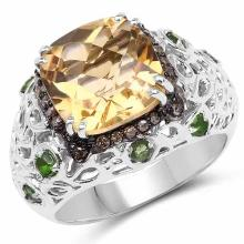 3.58 Carat Genuine Citrine, Chrome Diopside and Champagne Diamond .925 Sterling Silver Ring