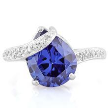 5 CARAT LAB TANZANITE & DIAMOND 925 STERLING SILVER RING