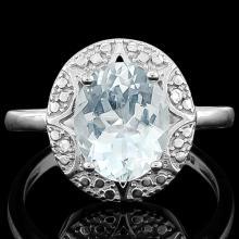 2 1/3 CARAT AQUAMARINE & DIAMOND 925 STERLING SILVER RING