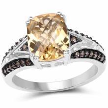 2.79 Carat Genuine Citrine, Champagne Diamond and White Diamond .925 Sterling Silver Ring