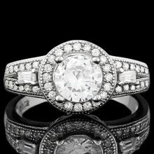 1 CARAT FLAWLESS CREATED DIAMOND 925 STERLING SILVER HALO RING