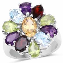 5.15 Carat Genuine Multi Stones .925 Sterling Silver Ring