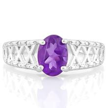 1 CARAT AMETHYST & (20 PCS) FLAWLESS CREATED DIAMOND 925 STERLING SILVER RING