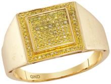 10kt Yellow Gold Mens Round Yellow Colored Diamond Square Cluster Ring 1/4 Cttw