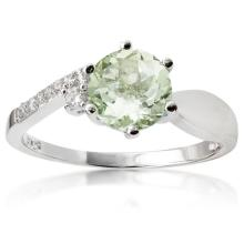 1 1/4 CARAT GREEN AMETHYST & (6 PCS) FLAWLESS CREATED DIAMOND 925 STERLING SILVER RING