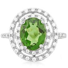 3 1/2 CARAT CREATED GREEN SAPPHIRE & 4 CARAT (40 PCS) FLAWLESS CREATED DIAMOND 925 STERLING SILVER RING