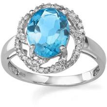 3.16 CT BLUE TOPAZ & 2 PCS WHITE DIAMOND PLATINUM OVER 0.925 STERLING SILVER RING