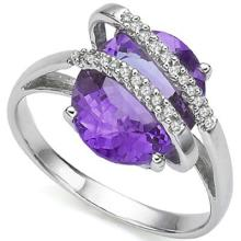 3.25 CT AMETHYST & 2 PCS WHITE DIAMOND PLATINUM OVER 0.925 STERLING SILVER RING