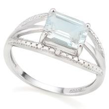1 2/3 CARAT AQUAMARINE & GENUINE DIAMONDS 925 STERLING SILVER RING