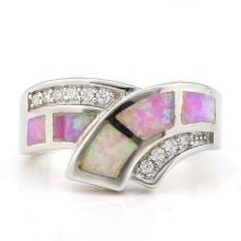 1 CARAT CREATED FIRE OPAL & 1/2 CARAT (10 PCS) CREATED WHITE SAPPHIRE 925 STERLING SILVER RING