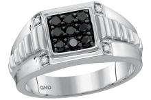 10kt White Gold Mens Round Black Colored Diamond Square Cluster Ribbed Shank Ring 1/2 Cttw