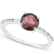 1.7 CARAT TW GARNET & CREATED WHITE SAPPHIRE PLATINUM OVER 0.925 STERLING SILVER RING