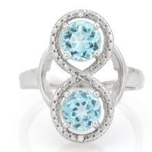 2 CARAT BABY SWISS BLUE TOPAZS & GENUINE DIAMONDS 925 STERLING SILVER RING