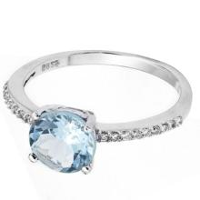 2.1 CARAT TW BLUE TOPAZ & CUBIC ZIRCONIA PLATINUM OVER 0.925 STERLING SILVER RING