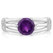 1 1/4 CARAT AMETHYST & (20 PCS) FLAWLESS CREATED DIAMOND 925 STERLING SILVER RING
