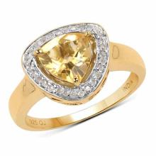 14K Yellow Gold Plated 1.67 Carat Genuine Citrine and Champagne Diamond .925 Sterling Silver Ring