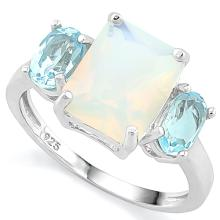 2 2/3 CARAT CREATED FIRE OPAL & 2 CARAT BABY SWISS BLUE TOPAZ 925 STERLING SILVER RING