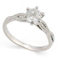 4/5 CARAT WHITE TOPAZ & DIAMOND 925 STERLING SILVER RING