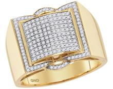 10kt Yellow Gold Mens Round Diamond Framed Square Cluster Ring 1/2 Cttw